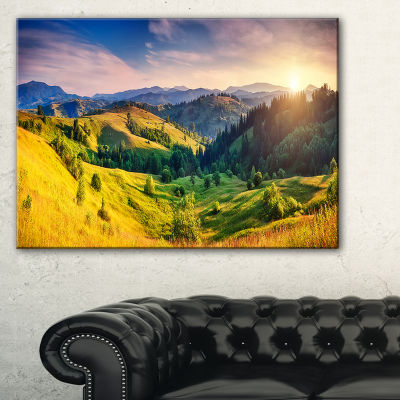 Designart Green Hills Glowing By Sunlight Canvas Art