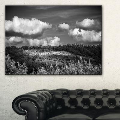 Designart Green Hills Under Cloudy Sky Canvas Art
