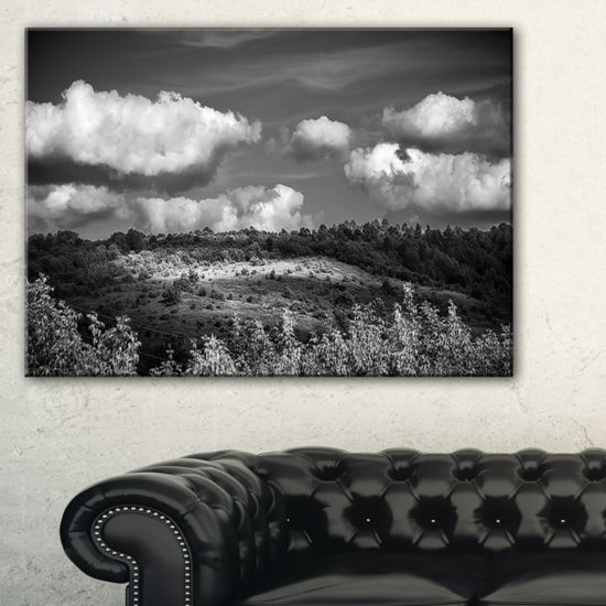 Designart Green Hills Under Cloudy Sky Canvas Art