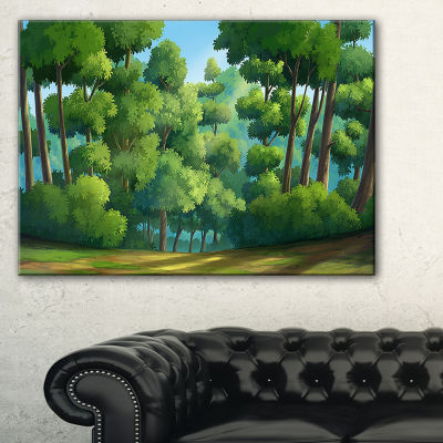 Designart Green Jungle With Dense Trees Canvas Art
