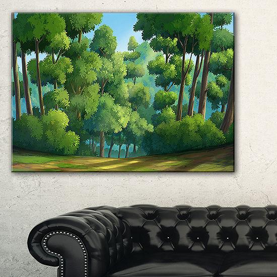 Designart Green Jungle With Dense Trees Canvas Art