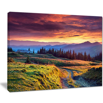 Designart Green Land Under Overcast Sky Canvas Art