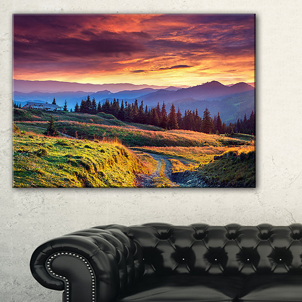 Designart Green Land Under Overcast Sky 3-pc. Canvas Art