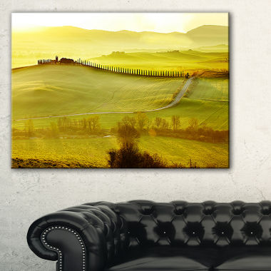 Designart Green Landscape And Rural Road Italy Canvas Art