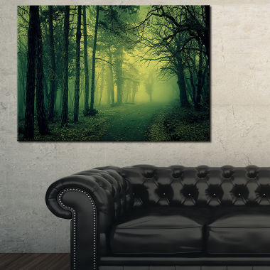 Designart Green Light In Thick Mist Forest Canvas Art