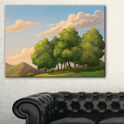 Designart Green Mounds With Green Trees Canvas Art