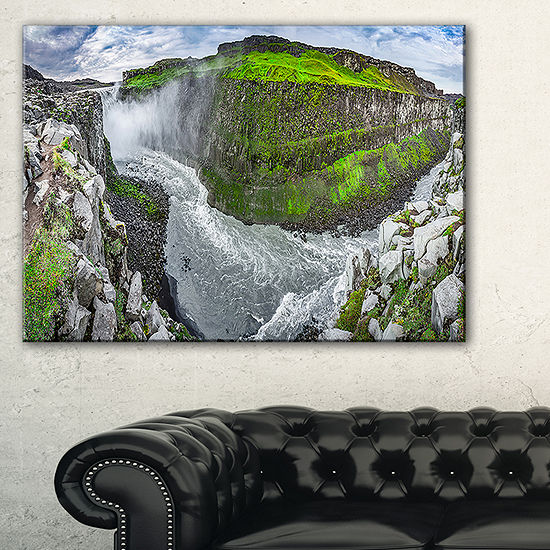 Designart Green Mountains With Waterfall Canvas Art