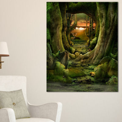 Designart Green Paradise Tunnel Canvas Art