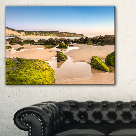 Designart Green Rocky Seashore At Norah Head Canvas Art