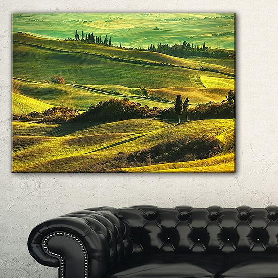 Designart Green Rolling Hills On Misty Sunset Canvas Art