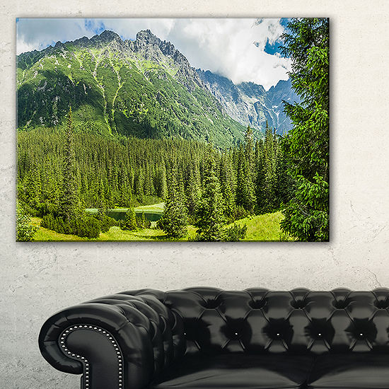 Designart Green Small Lake Panoramic View Canvas Art