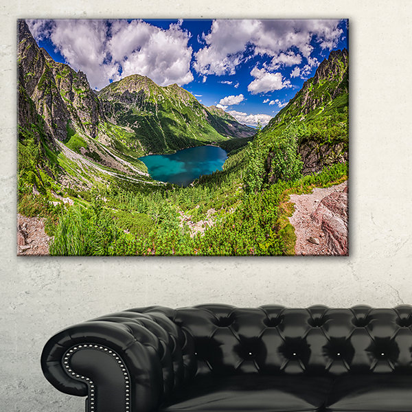Designart Green Tatra Mountains And Lake Canvas Art
