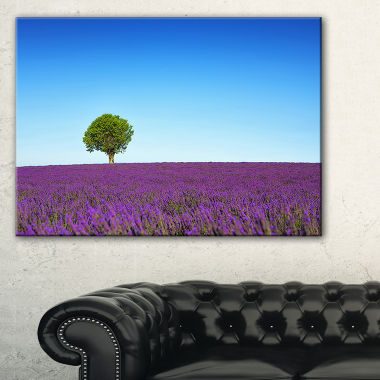Designart Green Tree Among Lavender Flowers Canvas Art