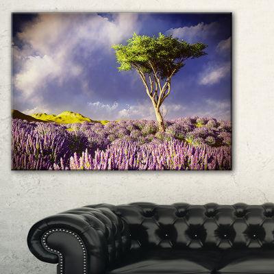 Designart Green Tree In Lavender Field Canvas Art