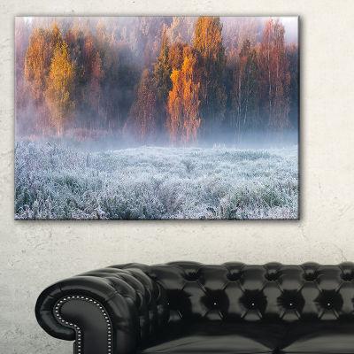 Designart Grey Hoarfrost Design By Winter Canvas Art