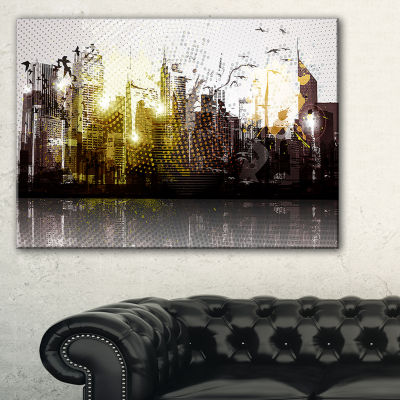 Designart Grunge City Panorama Canvas Art