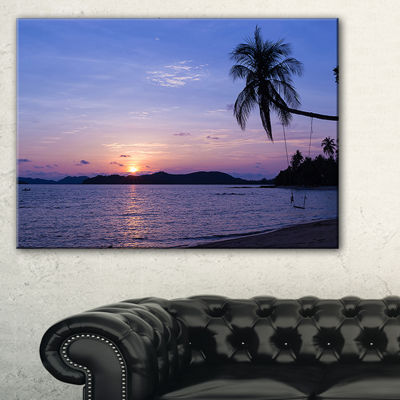 Designart Hanging Seat In Blue Sunset Beach Canvas Art