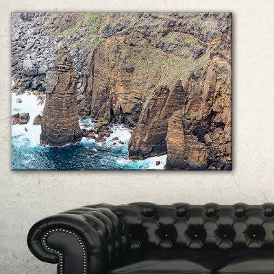 Designart Heave Rocks In Azores Beach Canvas Art