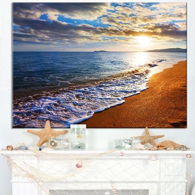 Designart Heavy Clouds Over Morning Beach Canvas Art