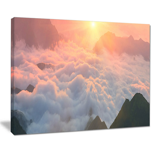 Designart Heavy Fog In Mountains Panorama Canvas Art