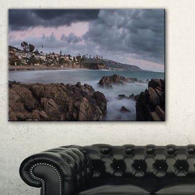 Designart Heavy Rain Clouds Over Crescent Bay Canvas Art