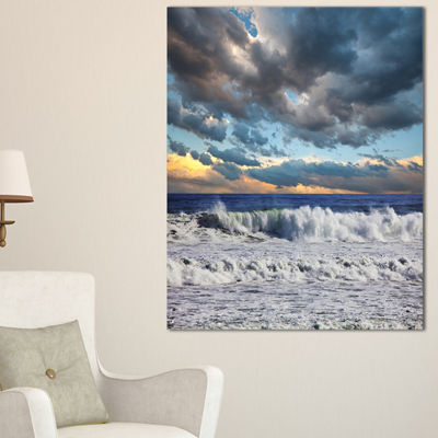 Designart Heavy Storm In Ocean At Sunset Canvas Art
