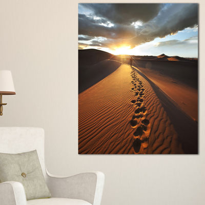Designart Hiking Path In Desert At Sunset Canvas Art