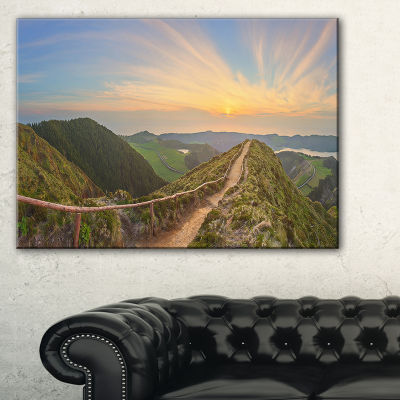Designart Hiking Trail And Beautiful Lakes Canvas Art