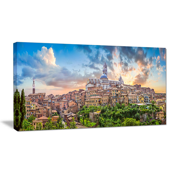 Designart Historic City Of Siena Panoramic View Canvas Art