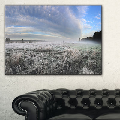 Designart Hoarfrost On Grass Under Cloudy Sky Canvas Art