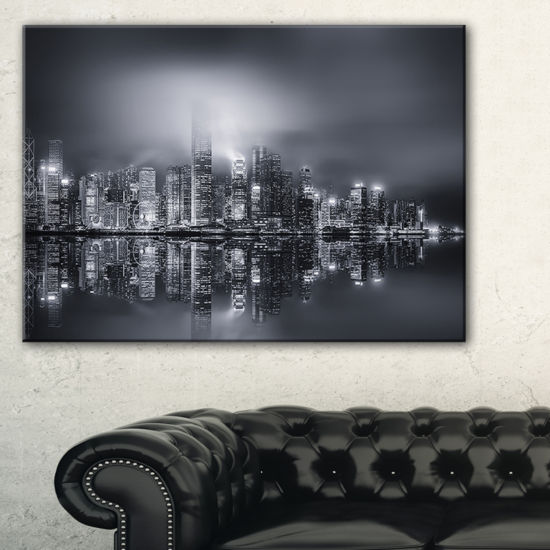 Designart Hong Kong Black And White Panorama Canvas Art
