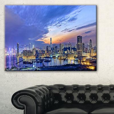 Designart Hong Kong City Sunset Panorama Canvas Art