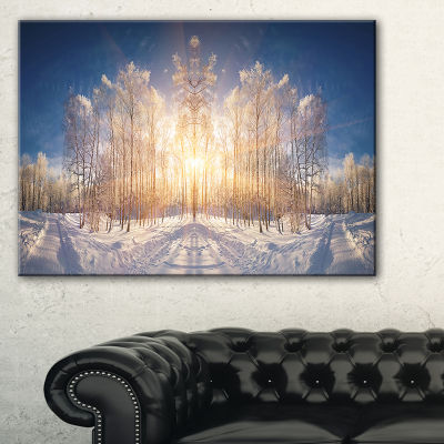 Designart Horizontally Flipped Winter Land Canvas Art