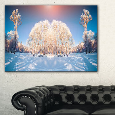 Designart Horizontally Flipped Winter Trees Canvas Art