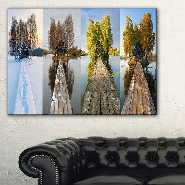 Designart Houses On Small Island Panorama Canvas Art