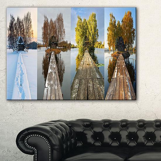 Designart Houses On Small Island Panorama Canvas Art