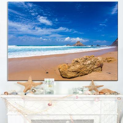 Designart Huge Brown Rock In Atlantic Seashore Canvas Art