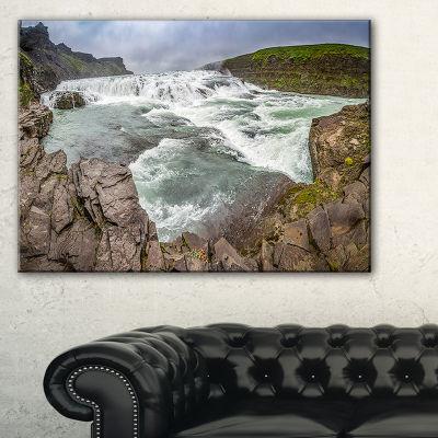 Designart Huge Gullfoss Waterfall In Iceland Canvas Art