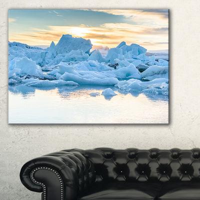 Designart Icebergs In Glacier Lagoon Canvas Art
