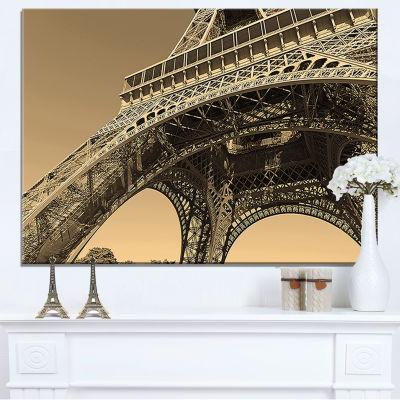 Designart Iconic Paris Paris Eiffel Towerside View From Ground Canvas Art