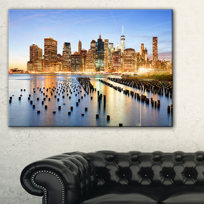 Designart Illuminated New York Skyscrapers Canvas Art