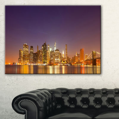 Designart Illuminated Nyc Downtown Buildings Canvas Art