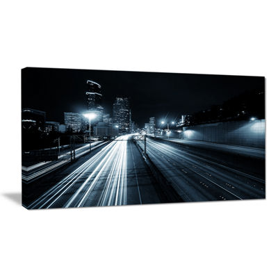 Designart Illuminated Traffic Trail In Downtown Seattle Canvas Art