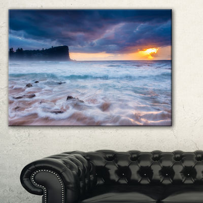 Designart Incredible Sunset With White Waves Canvas Art