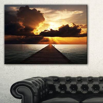 Designart Indefinite Wooden Pier To Gloomy Sea Canvas Art