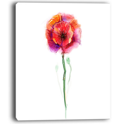 Designart Isolated Poppy Flower In Full Bloom Canvas Art