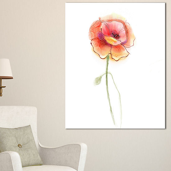 Designart Isolated Watercolor Poppy Flower Canvas Art