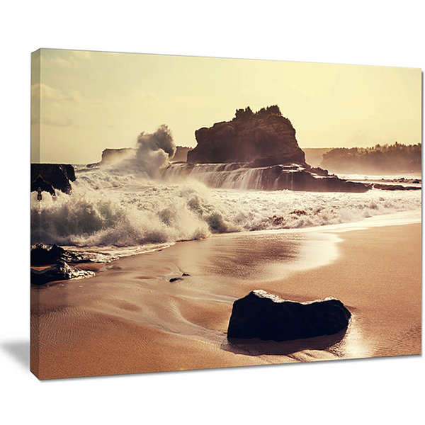 Designart Java Beach With Foaming Waters Canvas Art
