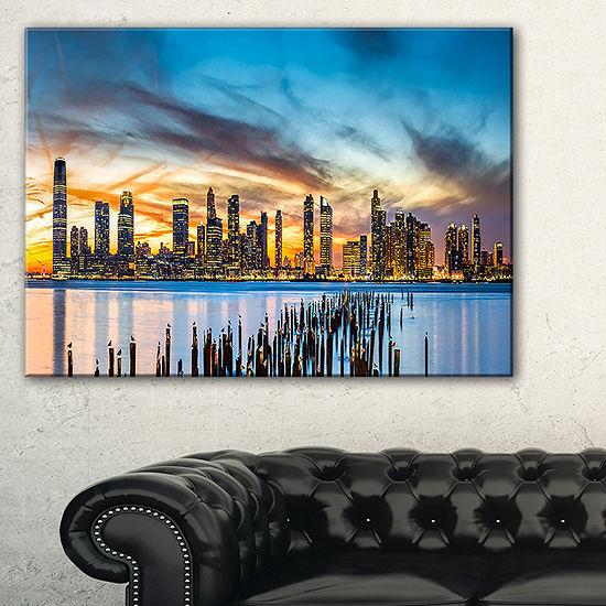 Designart Jersey City Panorama At Sunset Canvas Art