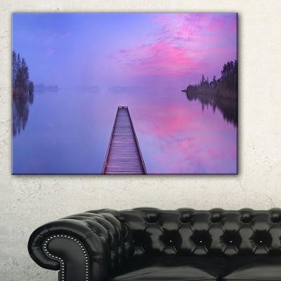 Designart Jetty In A Dawn Lake Canvas Art